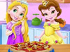 Рапунцель и Белль готовят пиццу